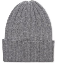 The Elder Statesman Ribbed Cashmere Beanie Cus 1 Light Grey