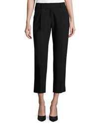 Milly Nicole Double Crepe Ankle Pants Black
