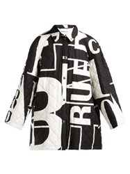 Balenciaga Logo Printed Quilted Cotton Coat Black White