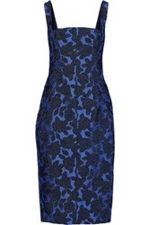 Lela Rose Woman Pleated Layered Brocade Dress Cobalt Blue