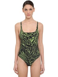 Ganni Tiger Printed One Piece Swimsuit Green