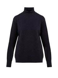 The Row Janilleen Roll Neck Cashmere Sweater Navy