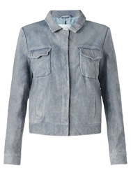 Jigsaw Washed Leather Trucker Jacket Blue
