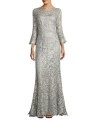 Rickie Freeman For Teri Jon Metallic Lace Gown Silver