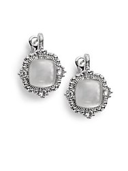 Judith Ripka La Petite Mother Of Pearl White Sapphire And Sterling Silver Doublet Earrings