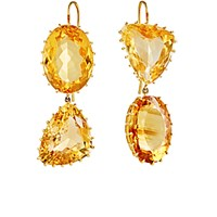 Renee Lewis Women's Mismatched Citrine Double Drop Earrings No Color