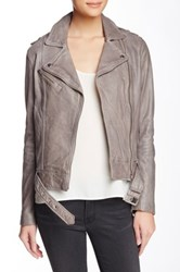 Soia And Kyo Kenley Distressed Leather Moto Jacket Gray