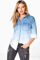 Boohoo Dip Dye Ombre Denim Shirt Blue