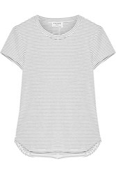 Frame Striped Stretch Modal Blend Jersey T Shirt White
