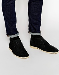 Asos Desert Boots In Suede With Snakeskin Effect Black