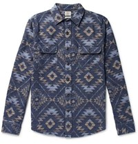 Faherty Cotton Flannel Jacquard Shirt Navy