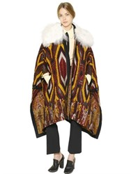 Chloe Faux Shearling And Wool Tapestry Cape