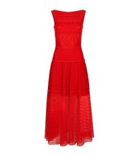 Talbot Runhof Tiered Lace Midi Dress Female