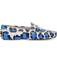 Tod's Ghepardo Leopard Print Leather Loafers Blue Pal.C