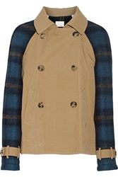 Band Of Outsiders Paneled Wool Blend And Washed Poplin Trench Coat