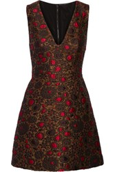 Alice Olivia Holden Jacquard Mini Dress Gold