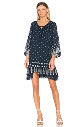 Derek Lam Bell Sleeve Ruffle Dress Navy