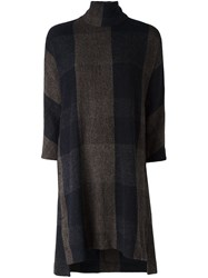 Stephan Schneider High Neck Checked Dress Brown