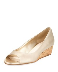 Cole Haan Elsie Leather Open Toe Wedge Pump Gold