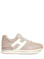 Hogan 45Mm H222 Lame Leather Sneakers Pink