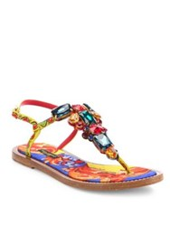 Dolce And Gabbana Jeweled Thong Sandals Multi