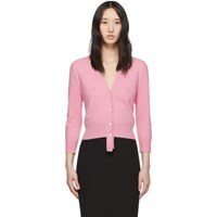 Alexander Mcqueen Pink Wool Three Quarter Sleeve Cardigan