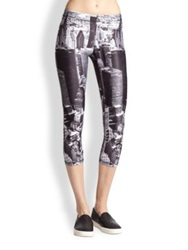 Zara Terez Above Nyc Printed Cropped Leggings Black Multi