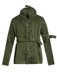 Craig Green Belted Sandwashed Silk Hooded Jacket Green