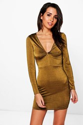 Boohoo Textured Slinky Knot Front Bodycon Dress Gold