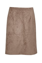 Great Plains Easily Swaid Faux Suede Skirt Brown