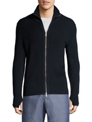Rag And Bone Jayden Wool Blend Zip Through Jacket Navy