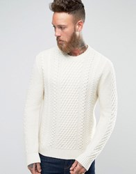 Edwin Cable Knit Jumper Natural White