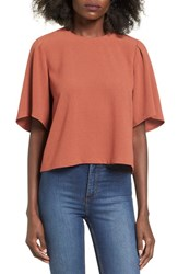 Elodie Women's Pleated Sleeve Woven Tee Tan Sahara