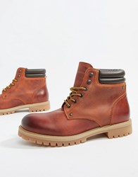 Jack And Jones Leather Lace Up Boots Brown