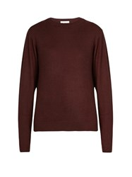 Raey Crew Neck Fine Knit Cashmere Sweater Burgundy