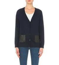 The Kooples Leather Pocket Wool Cardigan Black