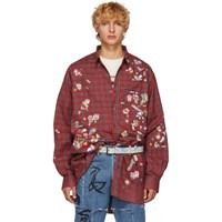 Vetements Red Check Sticker Shirt