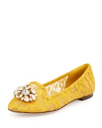 Dolce And Gabbana Crystal Embellished Lace Loafer Dark Yellow