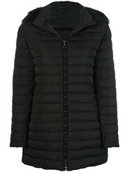 Emporio Armani Faux Fur Trim Hooded Padded Coat Black