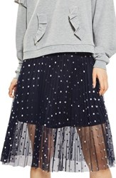 Topshop Petite Women's Foil Dot Pleat Midi Skirt Navy Blue