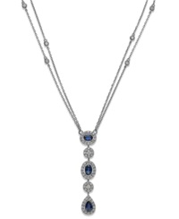 Macy's Sapphire 1 3 8 Ct. T.W. And Diamond 9 10 Ct. T.W. Pendant Necklace In 14K White Gold