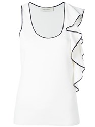 Cedric Charlier Ruffled Detail Tank Top White