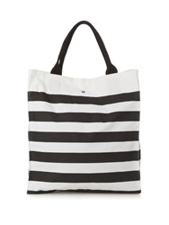 Danward Striped Canvas Beach Tote Black Multi