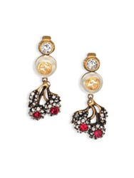 Gucci Floral Crystal And Faux Pearl Clip On Drop Earrings Gold Red