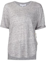 Derek Lam 10 Crosby Ribbon Detail T Shirt Grey