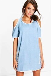 Boohoo Cold Shoulder Fray Denim Dress Blue