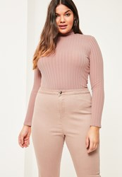 Missguided Plus Size Pink Ribbed High Neck Top Mauve