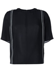 3.1 Phillip Lim Embroidered Ribbon T Shirt Black