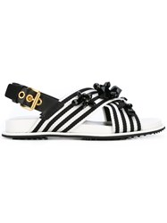 Car Shoe Cross Over Embellished Sandals Women Leather Polyester Rubber 39.5 White