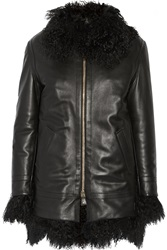 Versace Shearling Trimmed Leather Coat